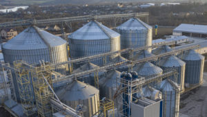aerial view of a large feed mill